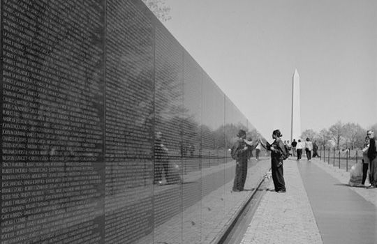 Looking from the apex of the Vietnam Veterans memorial towards the Washington Monument (undated)